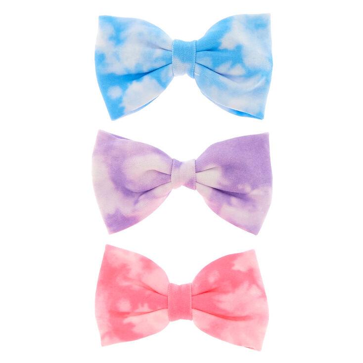 Tie Dye Pastel Mini Hair Bow Clips