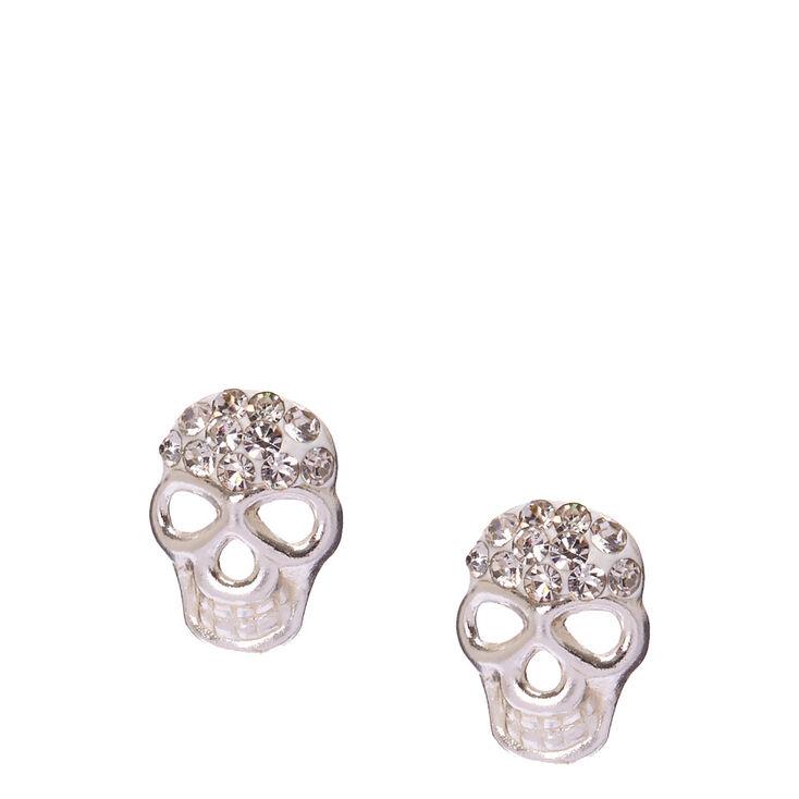 Sterling Silver Crystal Skull Stud Earrings