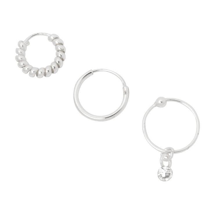 Sterling Silver Cartilage Silver Hoop Earrings - 3 Pack,