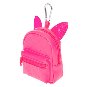Porte-clés mini sac à dos fluo - Rose,