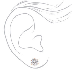18ct Rose Gold Plated Cubic Zirconia Round Stud Earrings - 8MM,