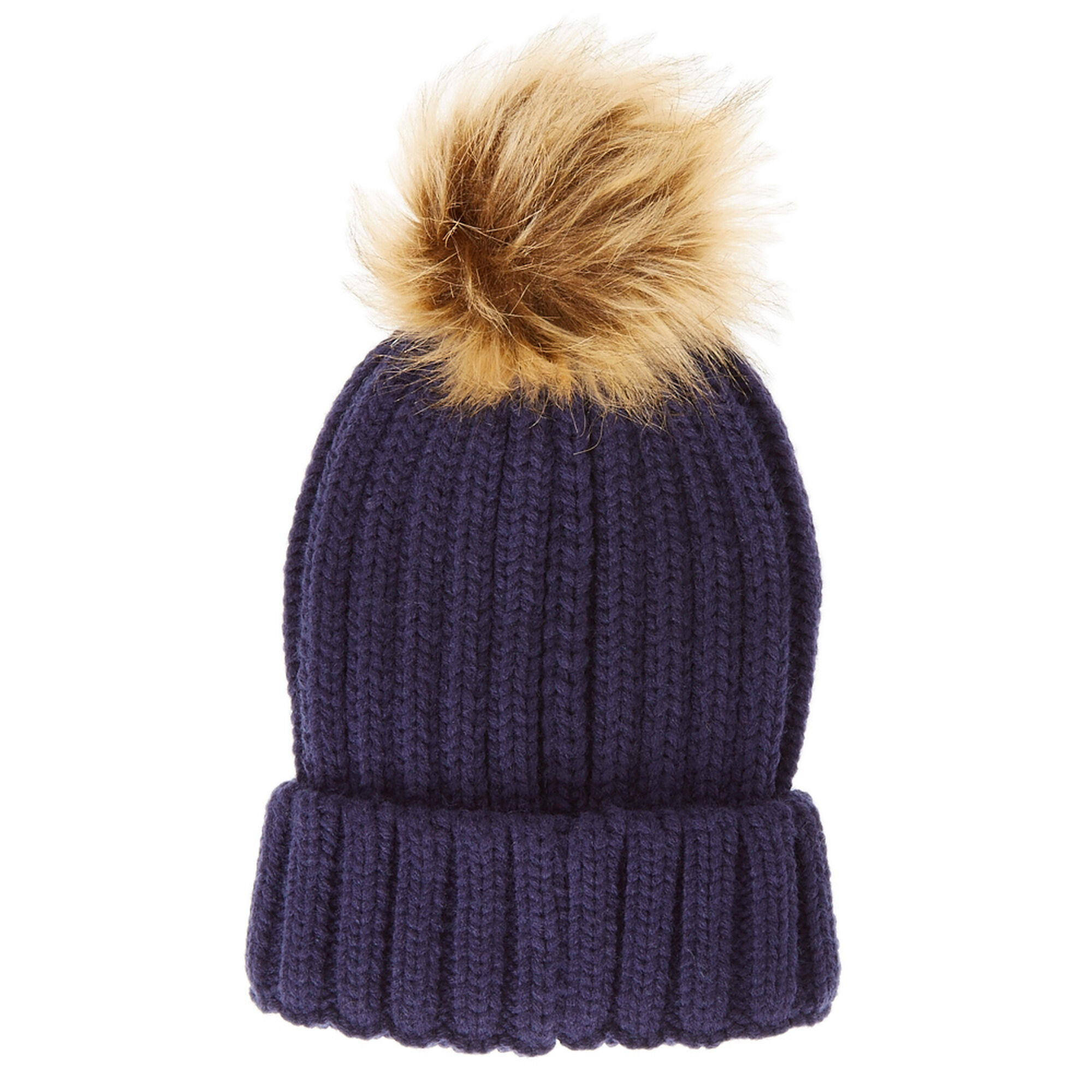 Navy Beanie Hat with Tan Pom Pom  94a1eae3809