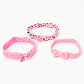 Claire's Club Spring Floral Bow Headwraps - Pink, 3 Pack,