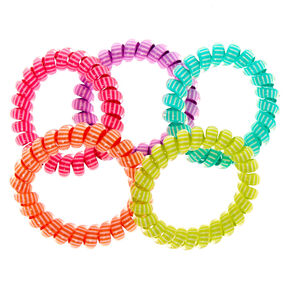 Claire's Club Striped Coil Bracelet Set - 5 Pack,