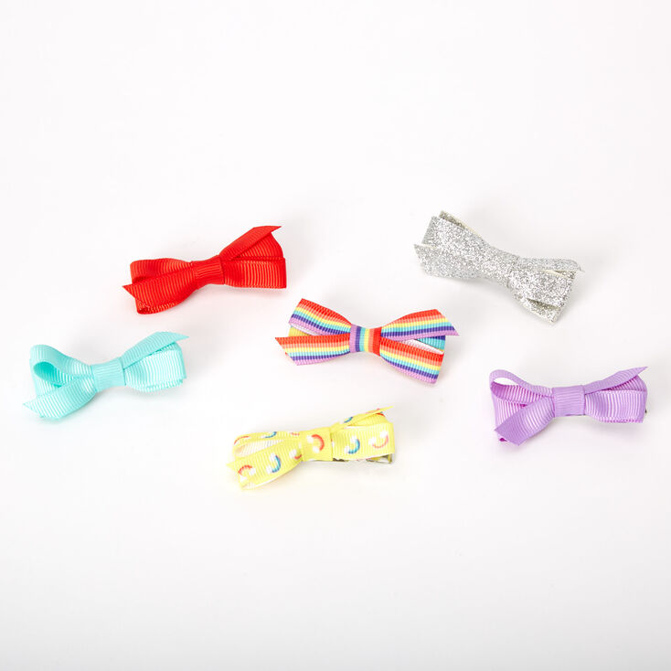 Claire's Club Mixed Summer Bow Hair Clips - 6 Pack,