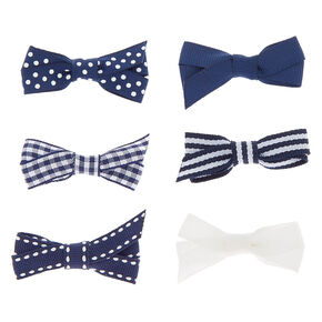 Claire's Club Hair Bow Clips - Navy, 6 Pack,