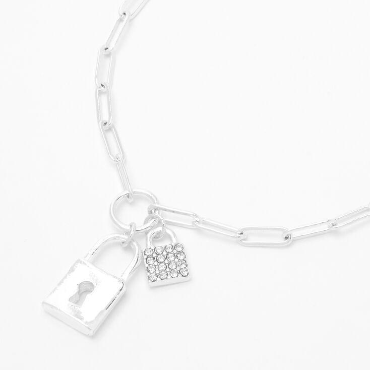 Silver Double Lock Pendant Chain Necklace,