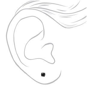 Black Cubic Zirconia Round Stud Earrings - 4MM,