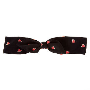 Sweet Hearts Knotted Bow Headwrap - Black,