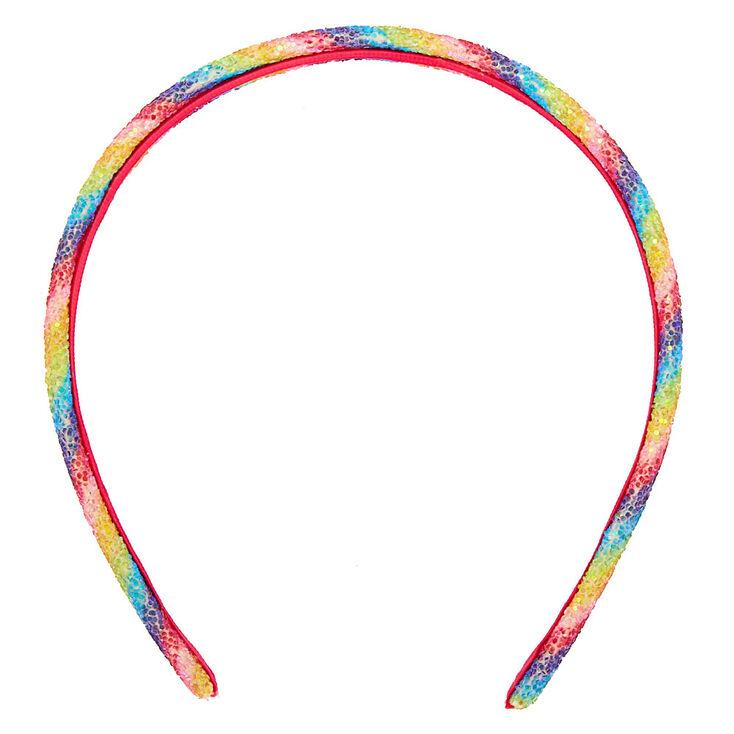 Rainbow Glitter Striped Headband,