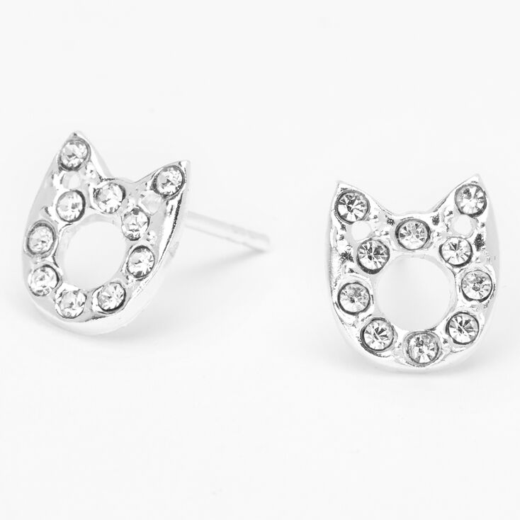 Sterling Silver Crystal Cut Out Cat Stud Earrings,