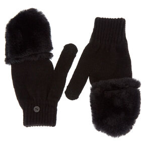 1be21aea7561c2 Touch Screen Fingerless Gloves with Furry Mitten Flap - Black