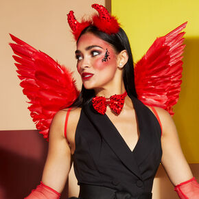 Halloween Feather Wings - Red,