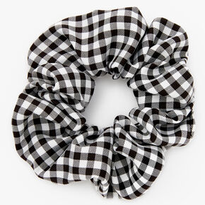 Medium Gingham Stripe Hair Scrunchie - Black,