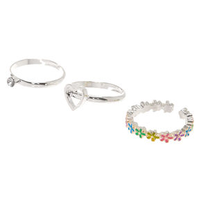 Silver Flower Rings - 3 Pack,