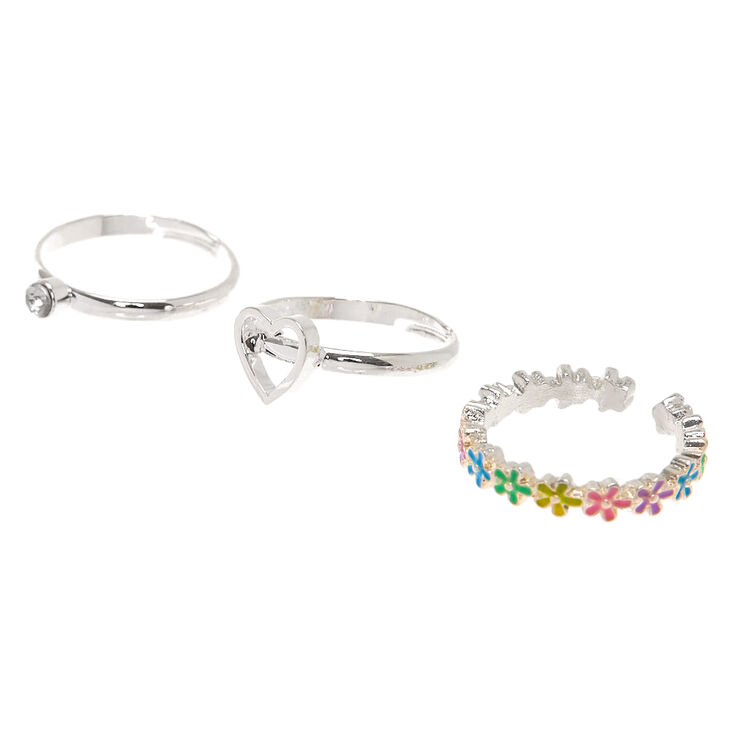 Silver Flower Rings - 3 Pack,
