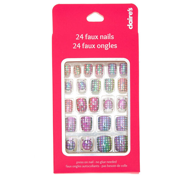 Claire's - holographicdisco ball press on faux nail set -24 pack - 2