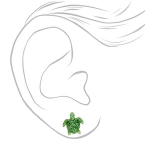 Glitter Sea Turtle Stud Earrings - Green,