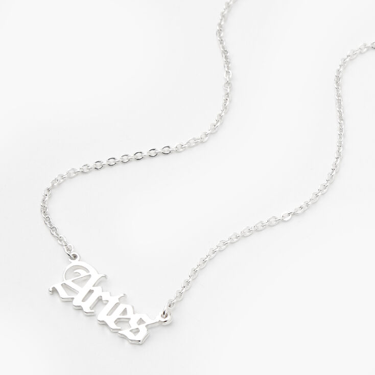 Silver Gothic Zodiac Pendant Necklace - Aries,