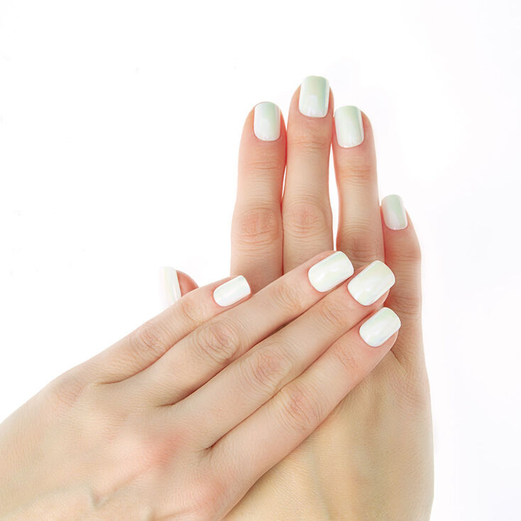 Iridescent Faux Nail Set - White, 24 Pack   Claire's US
