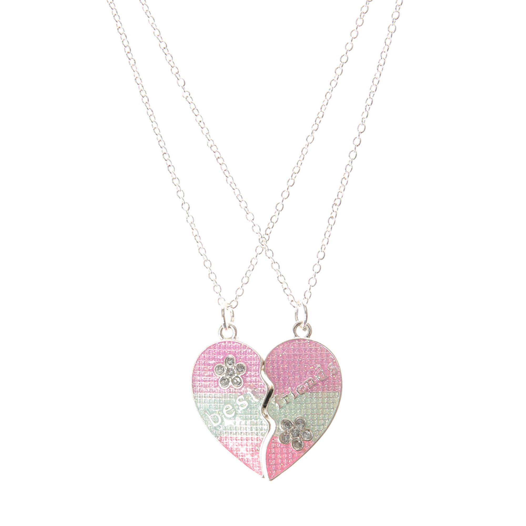 Best friends pastel half heart pendant necklaces claires best friends pastel half heart pendant necklaces aloadofball Choice Image