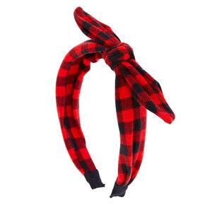 Red & Black Buffalo Check Knotted Bow Headband,