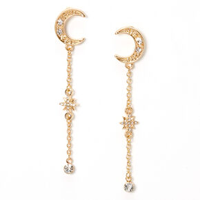 """Gold 2.5"""" Linear Moon Star Drop Earrings,"""