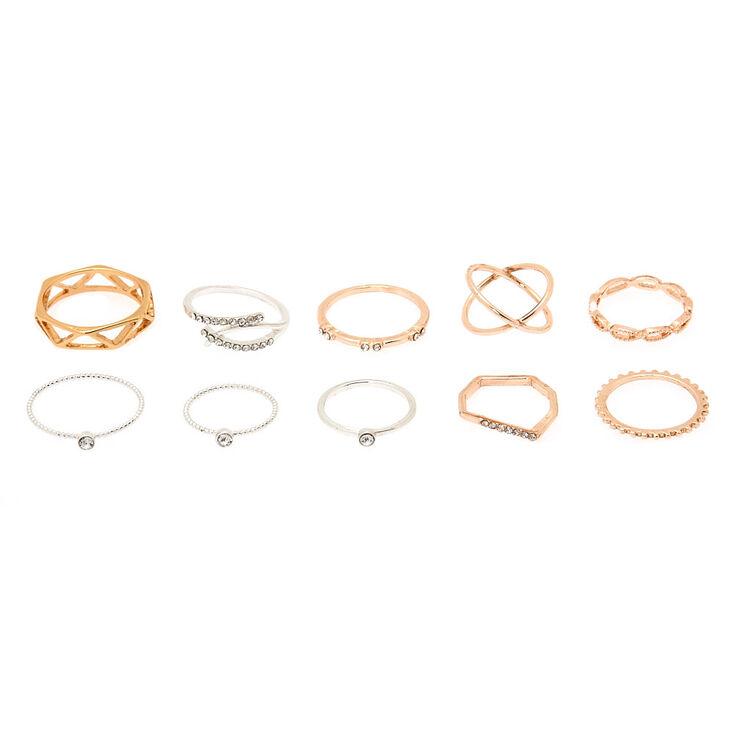 Mixed Metal Textured Ring Set - 10 Pack,
