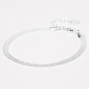 Bracelet de cheville à chaîne perlée couleur argentée,