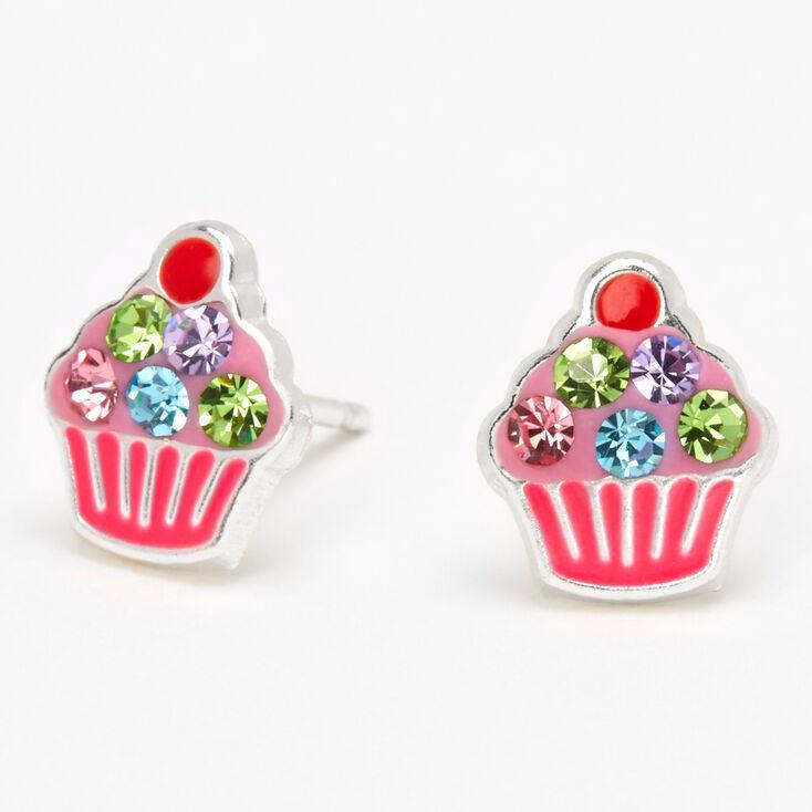 Sterling Silver Embellished Cupcake Stud Earrings - Pink,