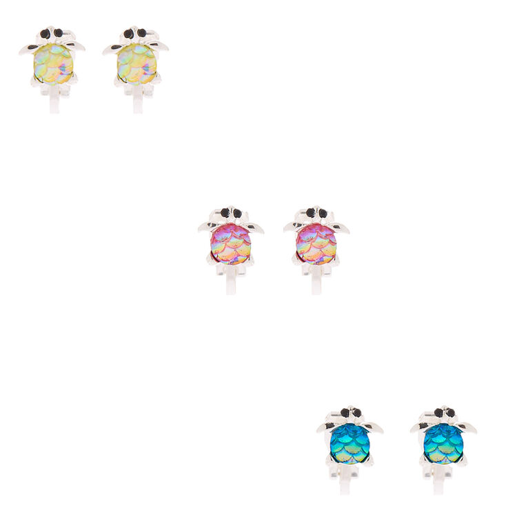 Turtle Shell Clip On Earrings - 3 Pack,