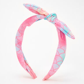 Pink Ombre Mermaid Knotted Bow Headband,