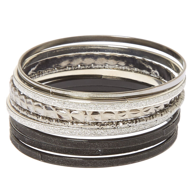 7 Pack Black Silver Bangle Bracelets