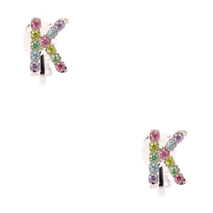 Rainbow K Initial Clip On Earrings