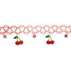 Claire's Club Cherry Tattoo Choker Necklace - Red,
