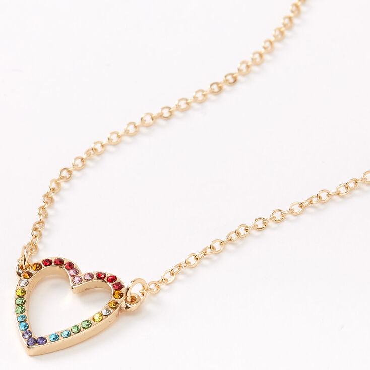 Gold Rainbow Open Heart Pendant Necklace,