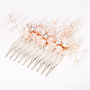Triple Pearl Flower Hair Comb - Blush,