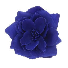 Large Glitter Rose Hair Clip - Blue,