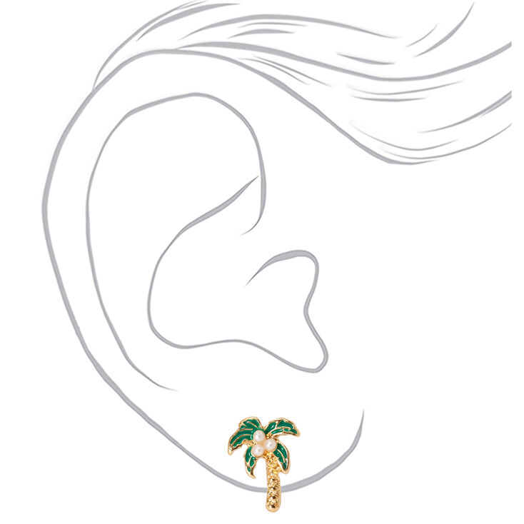 Gold Pearl Palm Tree Stud Earrings,