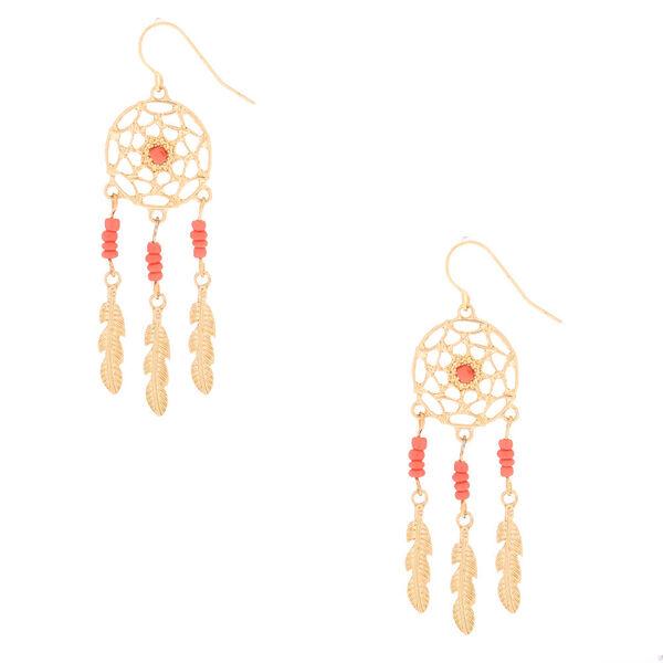 "Claire's - 2"" beaded dreamcatcher drop earrings - 1"