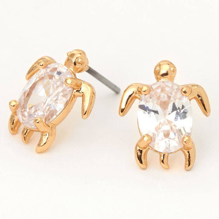Gold Cubic Zirconia Turtle Stud Earrings - 8MM,