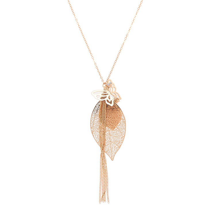 Rose Gold Leaf Filigree & Butterfly Long Pendant Necklace