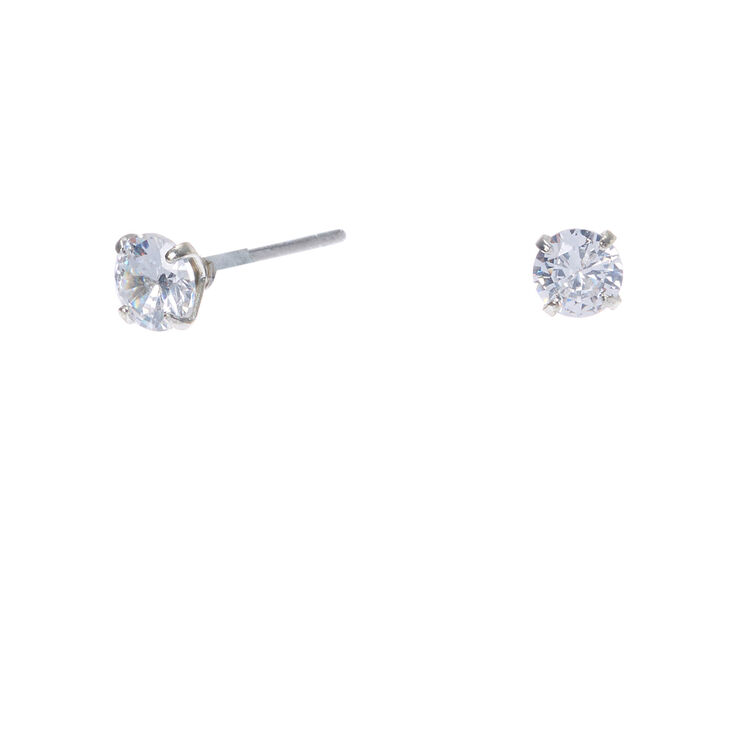 Silver Cubic Zirconia Round Stud Earrings - 4MM,