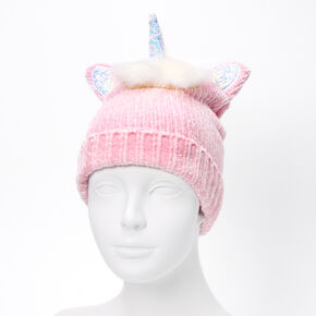 Unicorn Chenille Beanie - Pink,