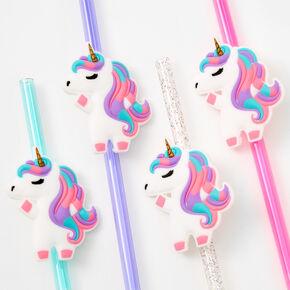 Rainbow Plastic Unicorn Straws - 4 Pack,