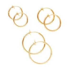 Gold Graduated Clip On Hoop Earrings 3 Pack