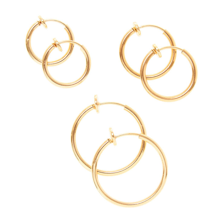 Gold Graduated Clip On Hoop Earrings 3 Pack