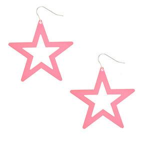 Neon Star Drop Earrings - Pink,