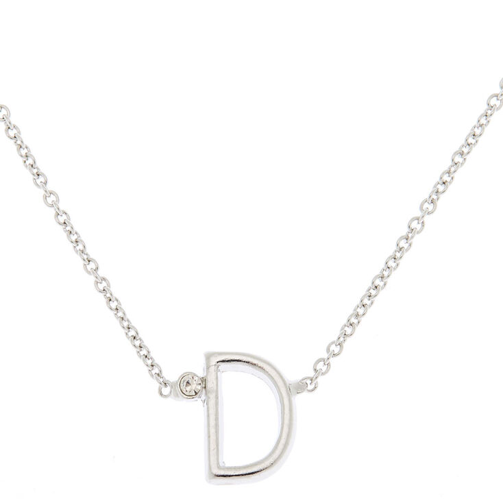 Silver Stone Initial Pendant Necklace - D,