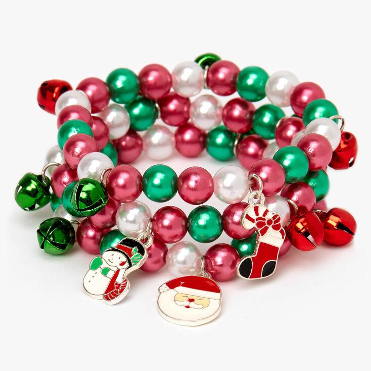 Christmas Charm Beaded Stretch Bracelets - 3 Pack,